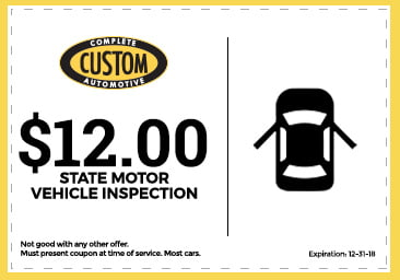 Custom Complete Automotive vehicle inspection coupon