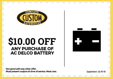 Custom Complete Automotive $10 off AC Delco battery