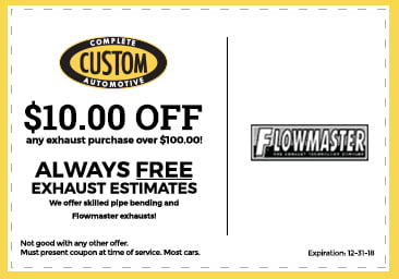 Custom Complete Automotive exhaust coupon