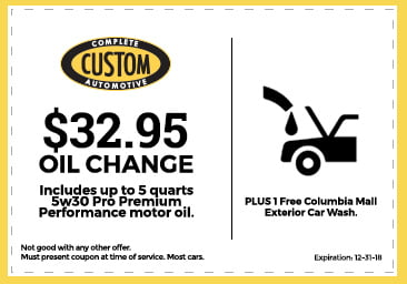 Custom Complete Automotive $32.95 Oil Change Coupon