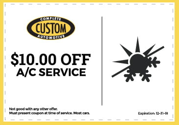 Complete Automotive $10 off AC service coupon