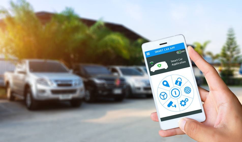 person using smartphone app to check car for potential issues and maintenance checks
