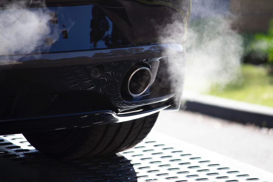 view of exhaust pipe on vehicle