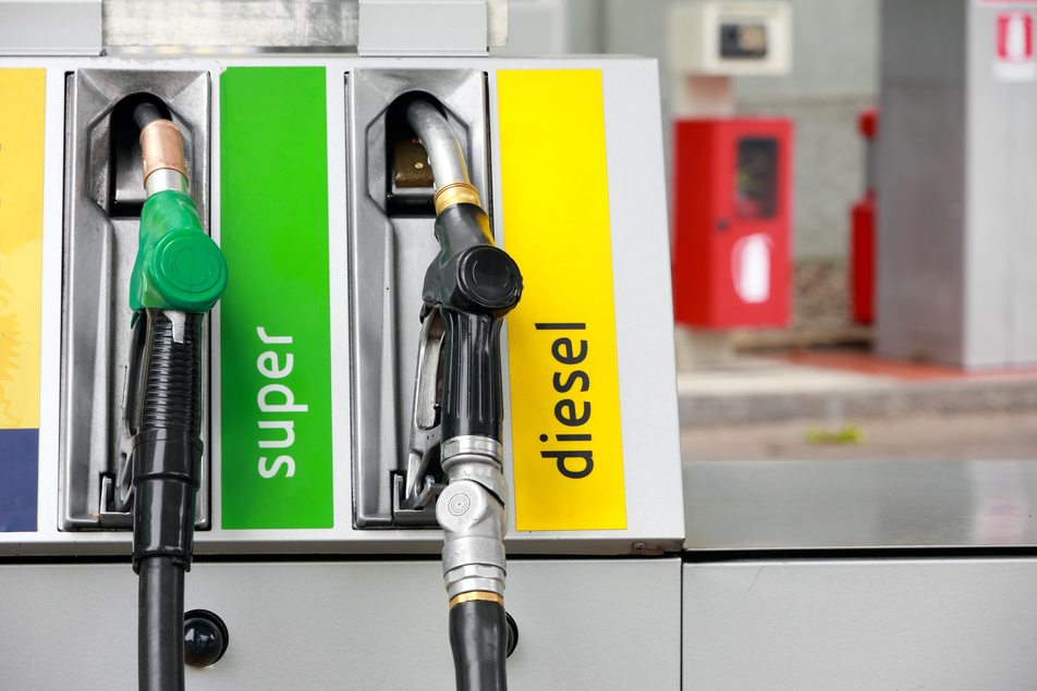 diesel and gasoline gas pumps
