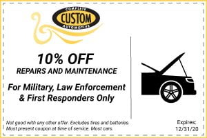 10% off for military, law enforcement, and first responders