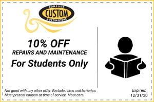 auto repair student discount coupon 2020