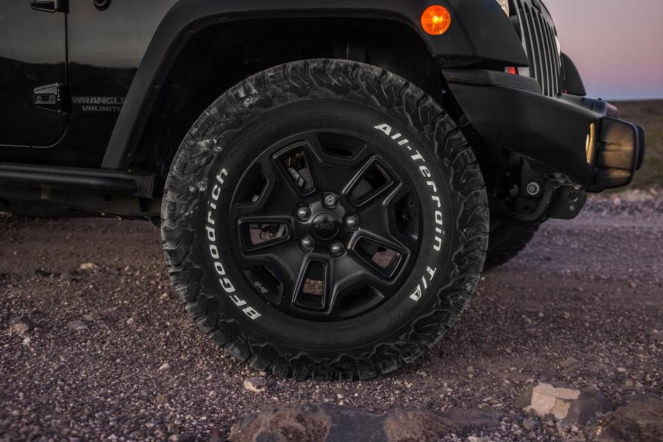 all terrain tires installed on jeep